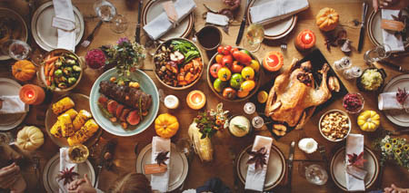 Large holiday meal on table