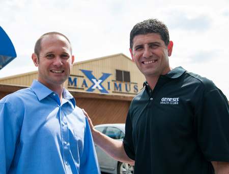 Genesis Health Clubs Owner Rodney Steven II with Maximus former owner Scott Huston.  Photo credit: http://cjonline.com/