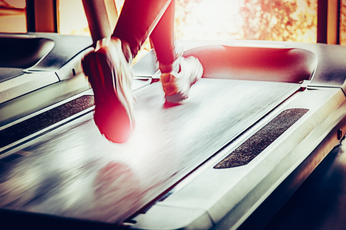 Running on a treadmill at the gym